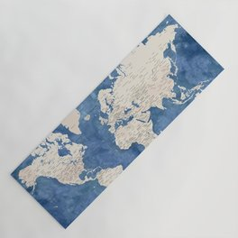 Light brown and blue watercolor detailed world map Yoga Mat