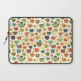 Vintage tea party - tea cups and sweets beige Laptop Sleeve