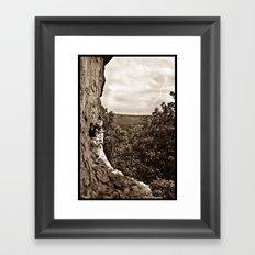 Lighting over Miller cave Framed Art Print