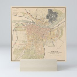 Vintage Lima Peru Map (1904) Mini Art Print