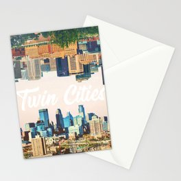 Skylines of Twin Cities | Minneapolis and Saint Paul Minnesota Stationery Cards