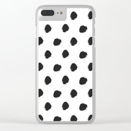 Black white hand painted watercolor polka dots Clear iPhone Case