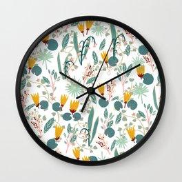 Spring Gardens Glowing Lotus White Wall Clock