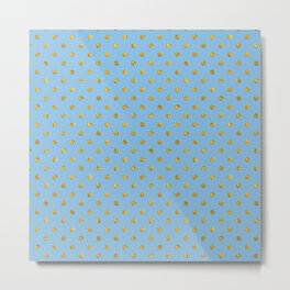 Gold polkadots on sky blue background Metal Print