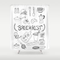 breakfast Shower Curtains featuring Breakfast by Brooke Weeber
