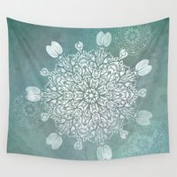 batik Wall Tapestries featuring Turquoise Batik Mandala Float by DebS Digs Photo Art