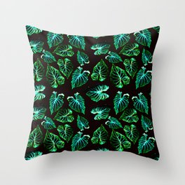 tropical leaves II pattern Throw Pillow