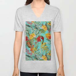 Vintage & Shabby Chic - Colorful Tropical Blue Garden Unisex V-Neck