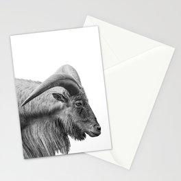 Minimalism Animal Photography | Mountain Goat | Black and White Minimal Art Stationery Cards