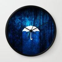 umbrella Wall Clocks featuring umbrella by Darthdaloon