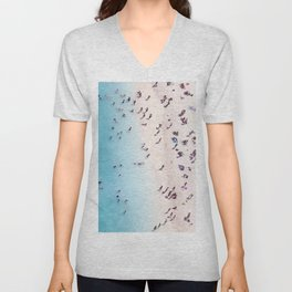 Aerial Ocean Beach View Unisex V-Neck