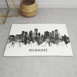 Milwaukee Wisconsin skyline BW Rug
