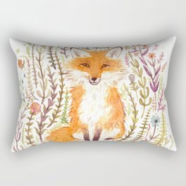 Fox and Flowers II Rectangular Pillow