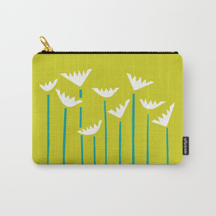 Chartreuse, Teal and White Tropical Plants Carry-All Pouch