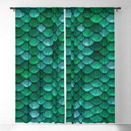 Green Penny Scales Blackout Curtain