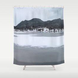 Watercolor Landscape Frozen Lake Estes 02, Colorado Shower Curtain