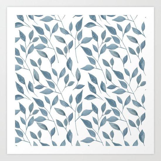 Watercolor leaves pattern Art Print