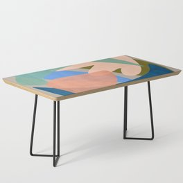 Shapes and Layers no.30 - Large Organic Shapes Blue Pink Green Gray Coffee Table