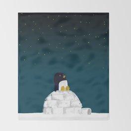 Star gazing - Penguin's dream of flying Throw Blanket