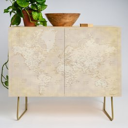Vintage world map in sepia and gold, Kellen Credenza
