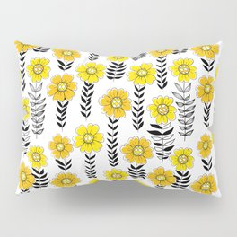 Doodle flowers in yellow and black   Pillow Sham