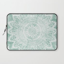 BOHEMIAN FLOWER MANDALA IN TEAL Laptop Sleeve