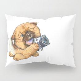 A little dog holding a camera Pillow Sham