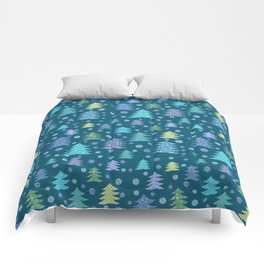 Winter Holidays Christmas Tree Green Forest Pattern Comforters