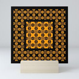 African Ethnic Pattern Black and Orange Mini Art Print