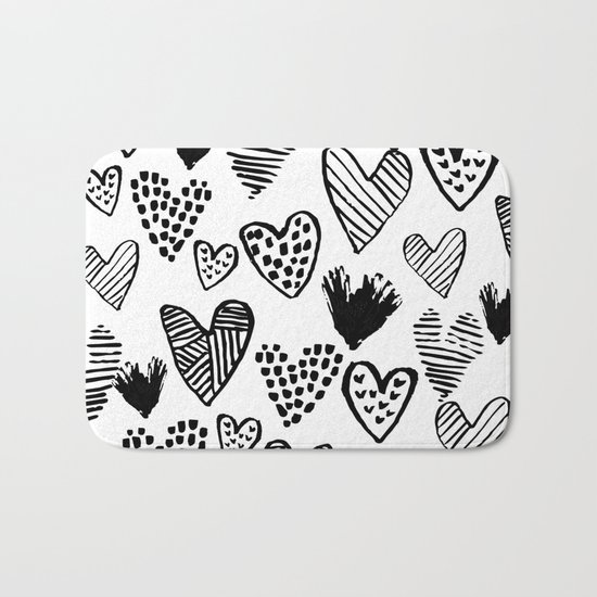 Hearts black and white hand drawn minimal love valentines day pattern gifts decor Bath Mat