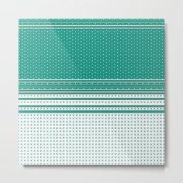 Teal Poka Dot Multi Pattern Design Metal Print
