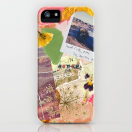 Abstract Textured Collage Pattern - Pressed Flowers, Paint, Vintage Photos iPhone Case