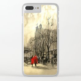 Couple in red walking on street of city Clear iPhone Case