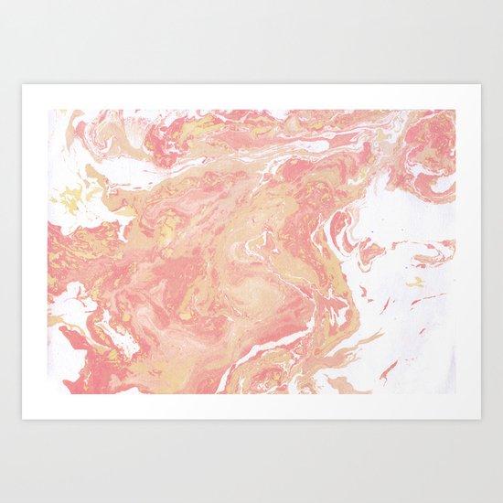 Marble texture background pastel cream shades . Art Print