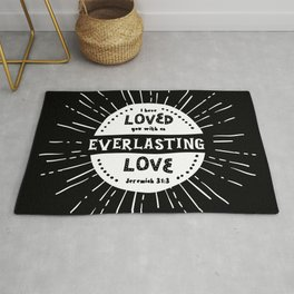 """""""Everlasting Love"""" Black and White Bible Verse Rug"""