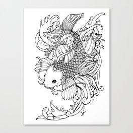 Koi, Poppy, and Squash Blossom Canvas Print