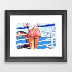 a girl on the boat Framed Art Print