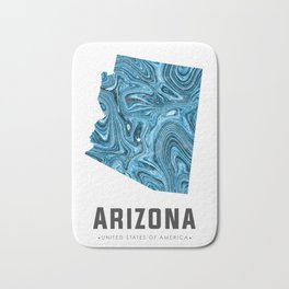 Arizona - State Map Art - Abstract Map - Blue Bath Mat
