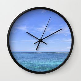 Whispy Clouds and Whitecaps - Tropical Horizons Series Wall Clock