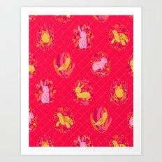 Picnic Pals animals in strawberry Art Print