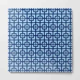 Dark Blue and Light Blue Fleur de Lis Garden Print Metal Print