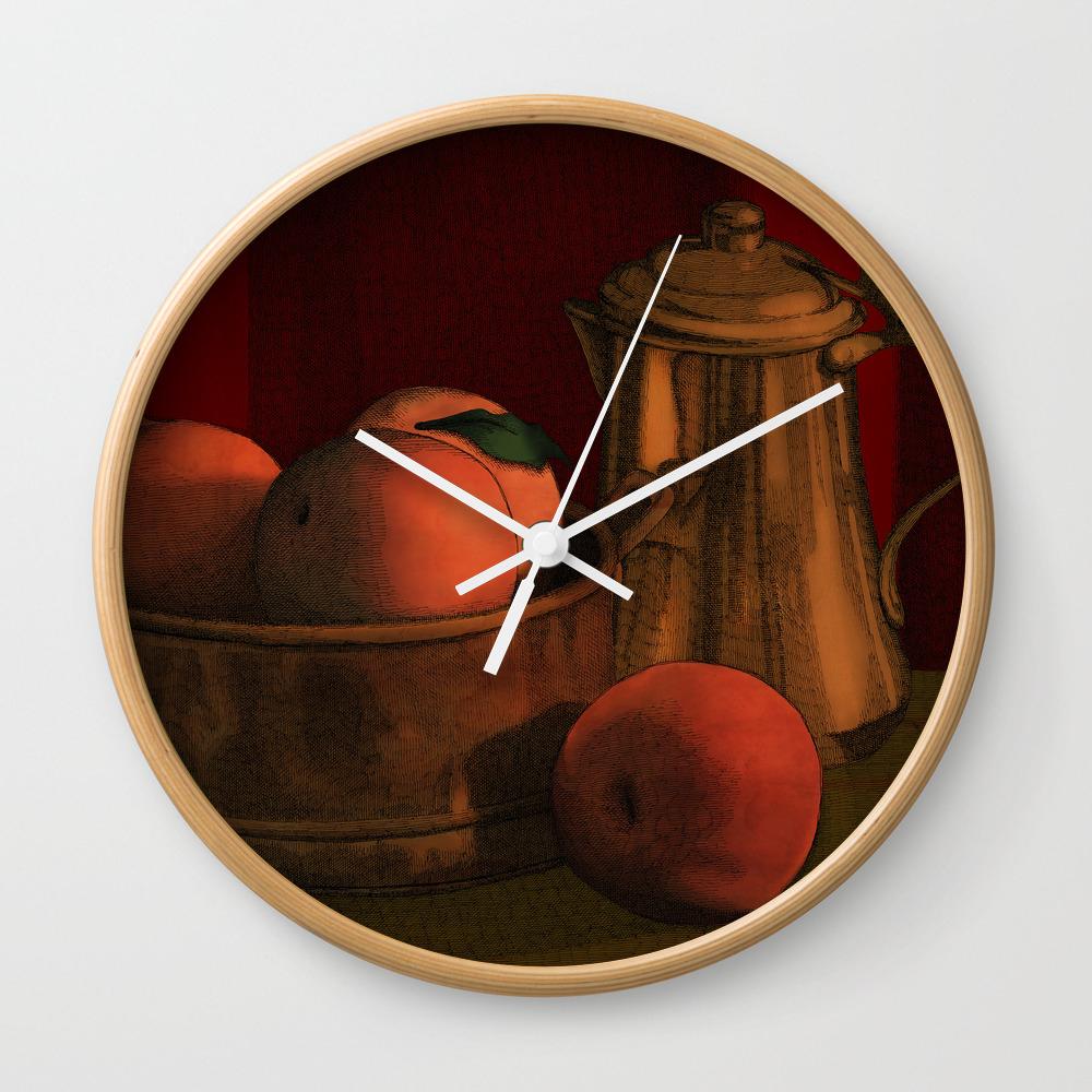 Still Life With Peaches Wall Clock by Megstuff CLK786635