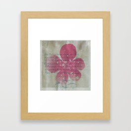 Pink flower and blue text Framed Art Print