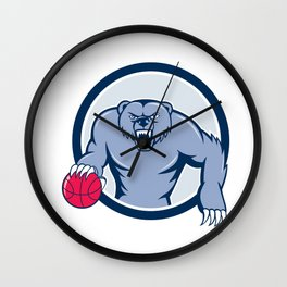 Grizzly Bear Angry Dribbling Basketball Cartoon Wall Clock