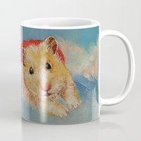 hamster Mugs featuring Hamster Superhero by Michael Creese