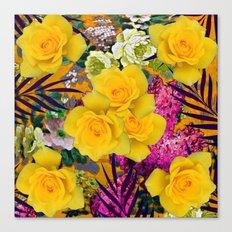 VINTAGE YELLOW ROSE FLOWERS PURPLE  PALMS ART Canvas Print
