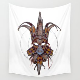 Male Venetian Jester Mask | Watercolor and Colored Pencil  Wall Tapestry
