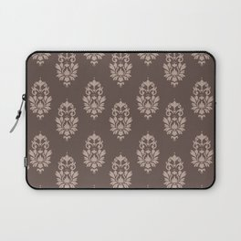 baroque pattern wallpaper damask seamless coffee and cream Laptop Sleeve