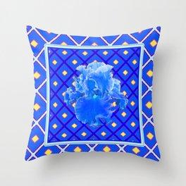 Blue Pattern Baby Blue Iris Art Yellow Checks Throw Pillow