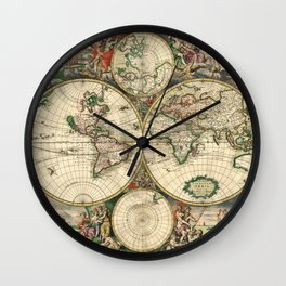 Old map of world hemispheres (enhanced) Wall Clock